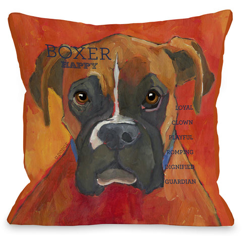 """Boxer"" Indoor Throw Pillow by Ursula Dodge, 16""x16"""