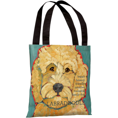 """Labradoodle"" 18""x18"" Tote Bag by Ursula Dodge"