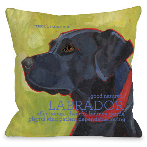 """Labrador Retriever"" Indoor Throw Pillow by Ursula Dodge, 16""x16"""