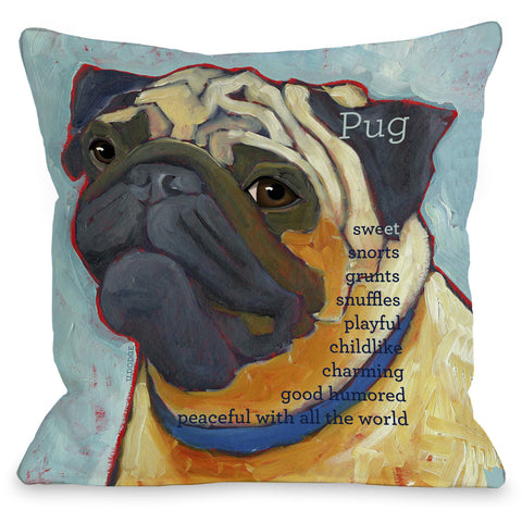"""Pug"" Indoor Throw Pillow by Ursula Dodge, 16""x16"""