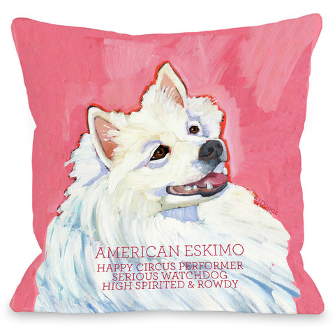 """American Eskimo"" Indoor Throw Pillow by Ursula Dodge, 16""x16"""