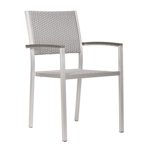 Metropolitan Dining Arm Chair Brushed Aluminum (Set of 2)