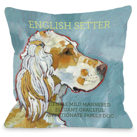 """English Setter"" Indoor Throw Pillow by Ursula Dodge, 16""x16"""