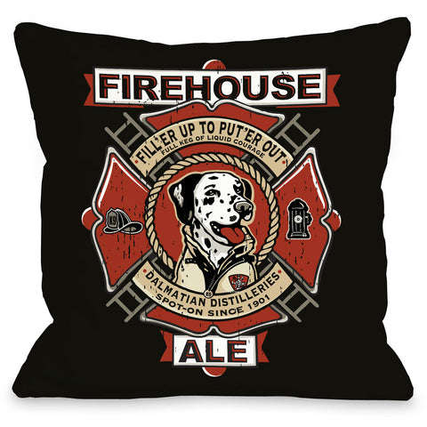 """Firehouse Dalmatian Ale"" Indoor Throw Pillow by Dog is Good, 16""x16"""