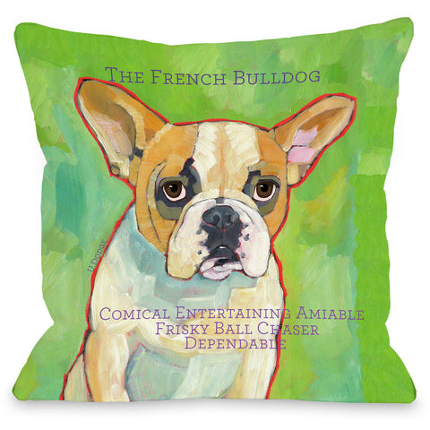 """French Bulldog"" Indoor Throw Pillow by Ursula Dodge, 16""x16"""