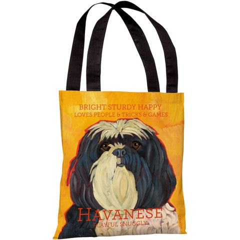 """Havanese"" 18""x18"" Tote Bag by Ursula Dodge"