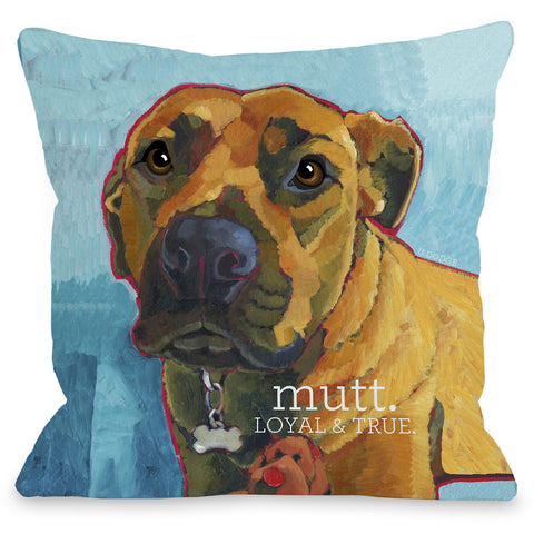 """Mutt - Loyal & True"" Indoor Throw Pillow by Ursula Dodge, 16""x16"""
