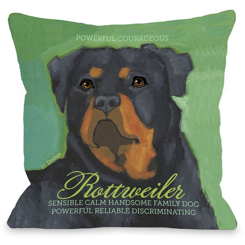 """Rottweiler"" Indoor Throw Pillow by Ursula Dodge, 16""x16"""