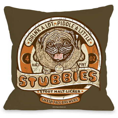 """Stubbies Stout"" Indoor Throw Pillow by Dog is Good, 16""x16"""