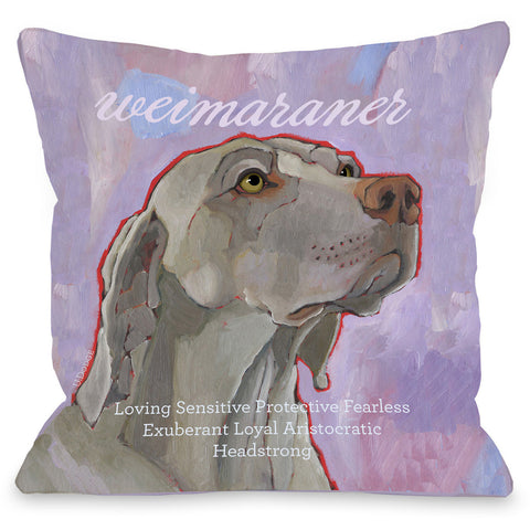 """Weimaraner"" Indoor Throw Pillow by Ursula Dodge, 16""x16"""