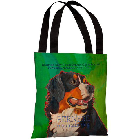 """Bernese Mountain Dog"" 18""x18"" Tote Bag by Ursula Dodge"