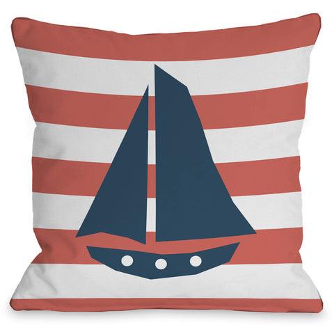 """Striped Sailboat"" Indoor Throw Pillow by OneBellaCasa, 16""x16"""