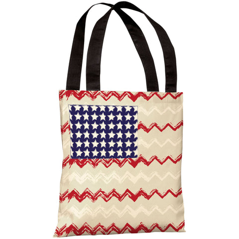 """Chevron American Flag"" 18""x18"" Tote Bag by OneBellaCasa"