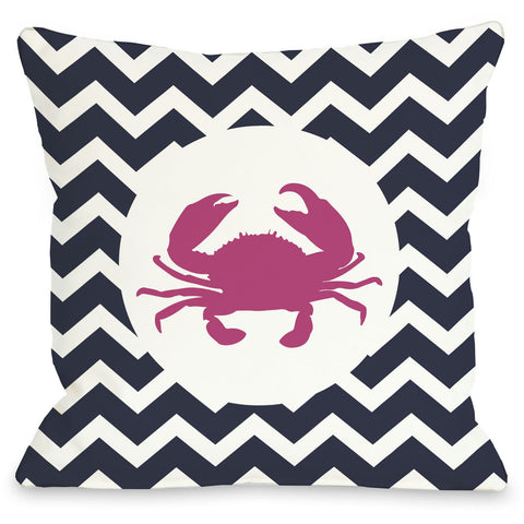 """Chevron Crab"" Outdoor Throw Pillow by OneBellaCasa, 16""x16"""