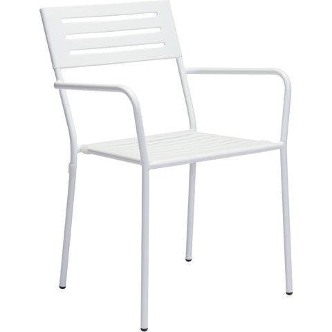 Wald Outdoor Dining Arm Chair White (Set of 2)