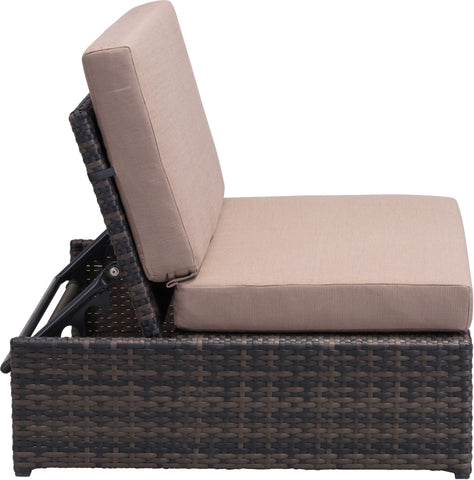 Delray Outdoor Reclining Single Seat Brown