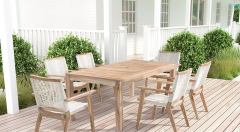 West Port Outdoor Dining Table, White Wash