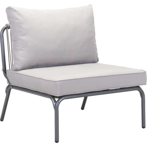 Pier Outdoor Armless Single Lounge Chair, Gray