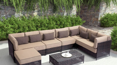 Pinery Outdoor Ottoman, Brown & Beige