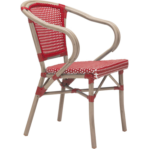 Paris Outdoor Dining Arm Chair, Red & White (Set of 2)