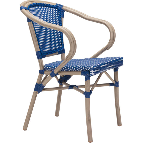 Paris Outdoor Dining Arm Chair, Navy Blue & White (Set of 2)