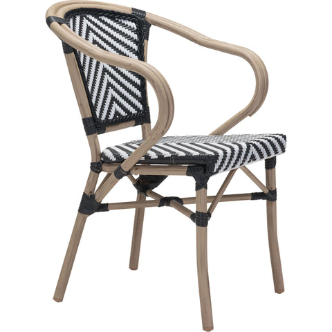 Paris Outdoor Dining Arm Chair, Black & White (Set of 2)