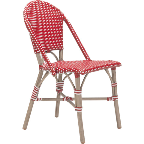 Paris Outdoor Dining Chair, Red & White (Set of 2)