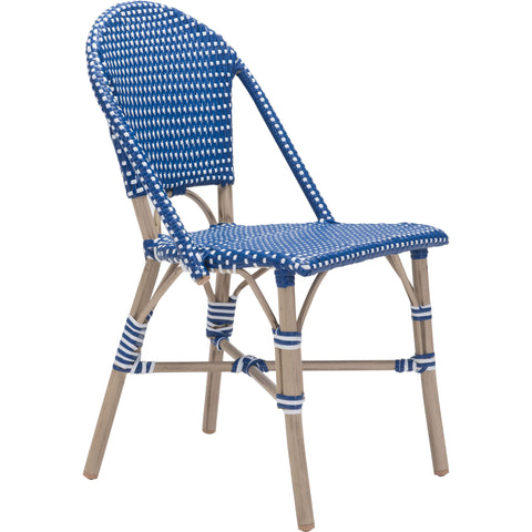 Paris Outdoor Dining Chair, Navy Blue & White (Set of 2)