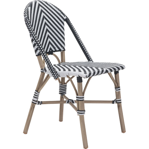 Paris Outdoor Dining Chair, Black & White (Set of 2)