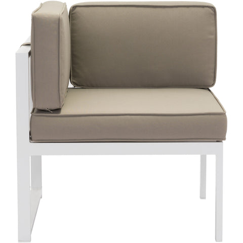 Golden Beach Outdoor Corner Chair, White & Taupe