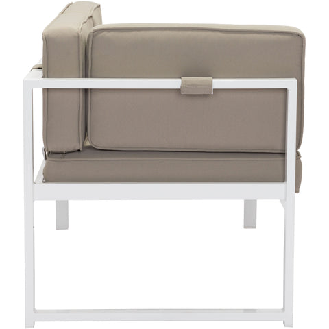 Golden Beach Outdoor Chaise LHF, White & Taupe
