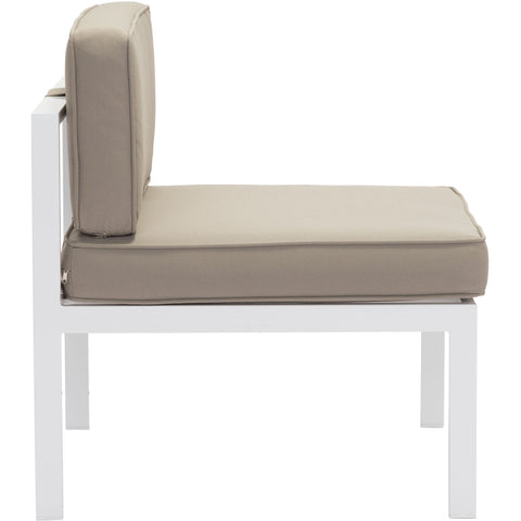 Golden Beach Outdoor Middle Chairs, White & Taupe (Set of 2)
