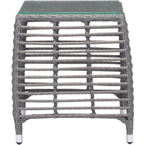 Trek Beach Outdoor Side Table, Gray & Beige