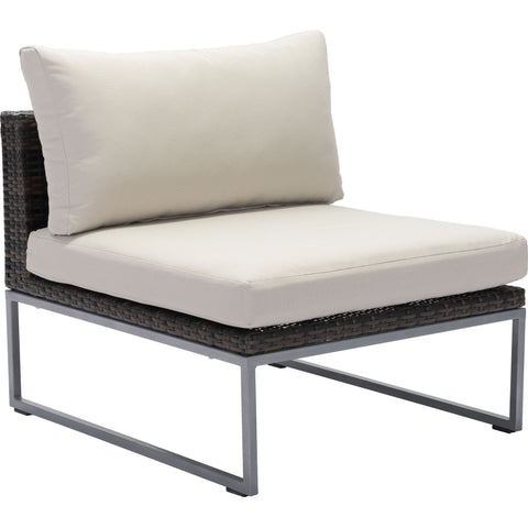 Malibu Outdoor Middle Chair, Brown & Beige