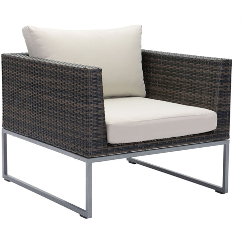 Malibu Outdoor Arm Chair, Brown & Beige