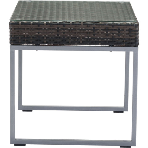 Malibu Outdoor Side Table, Brown & Silver