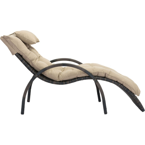 Eggertz Beach Outdoor Chaise Lounge, Brown & Beige