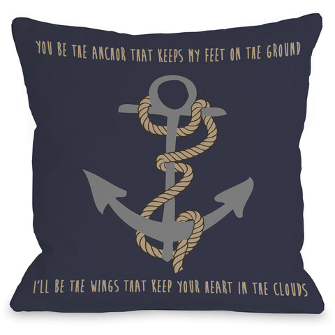 """Anchor Keeps Feet On The Ground"" Indoor Throw Pillow by OneBellaCasa, 16""x16"""