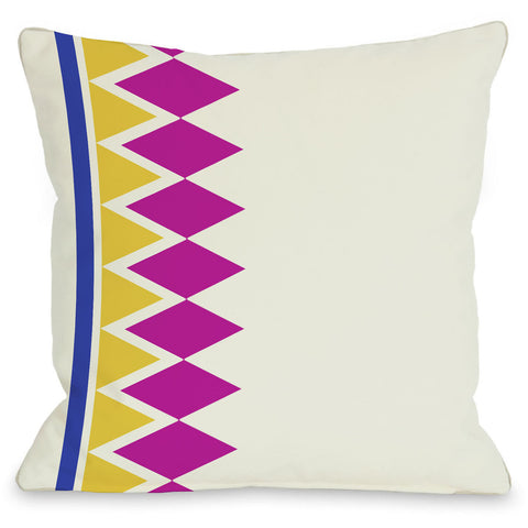 """Asymmetrical Diamonds"" Outdoor Throw Pillow by OneBellaCasa, Fuchsia, 16""x16"""