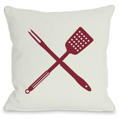 """BBQ Tools"" Indoor Throw Pillow by OneBellaCasa, 16""x16"""
