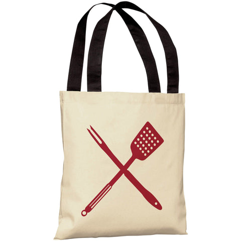 """BBQ Tools"" 18""x18"" Tote Bag by OneBellaCasa"