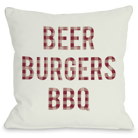 """Beer Burgers BBQ"" Outdoor Throw Pillow by OneBellaCasa, 16""x16"""