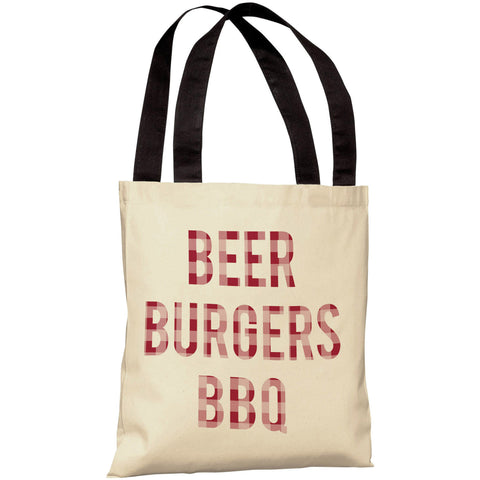 """Beer Burgers BBQ"" 18""x18"" Tote Bag by OneBellaCasa"