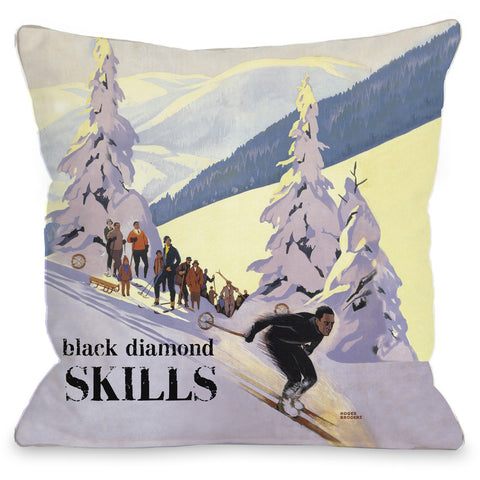 """Black Diamond Skills"" Indoor Throw Pillow by OneBellaCasa, 16""x16"""