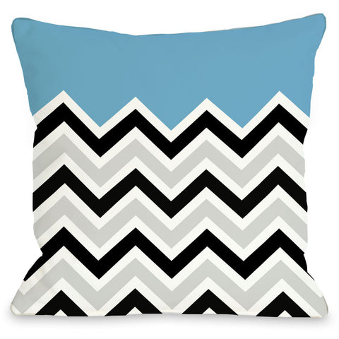 """Chevron"" Outdoor Throw Pillow by OneBellaCasa, Light Blue, 16""x16"""