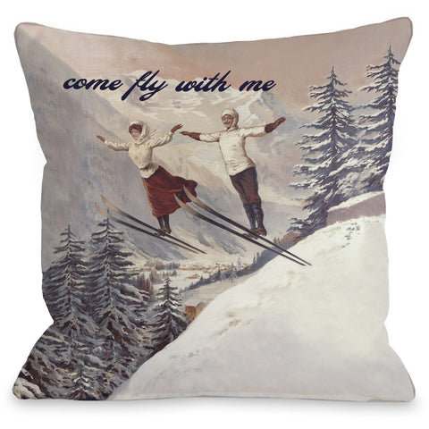 """Come Fly With Me"" Indoor Throw Pillow by OneBellaCasa, 16""x16"""
