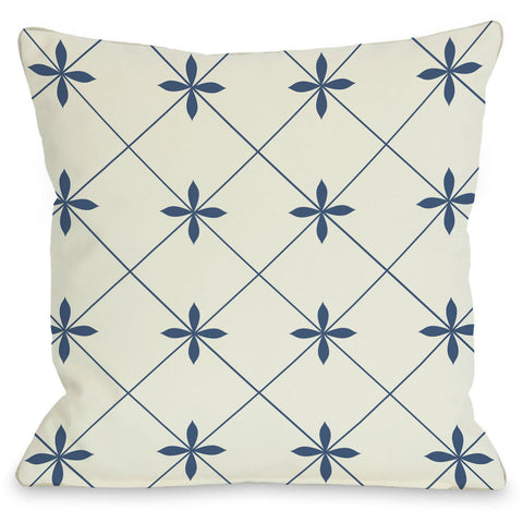 """Crisscross Flowers"" Outdoor Throw Pillow by OneBellaCasa, Ivory/Blue, 16""x16"""