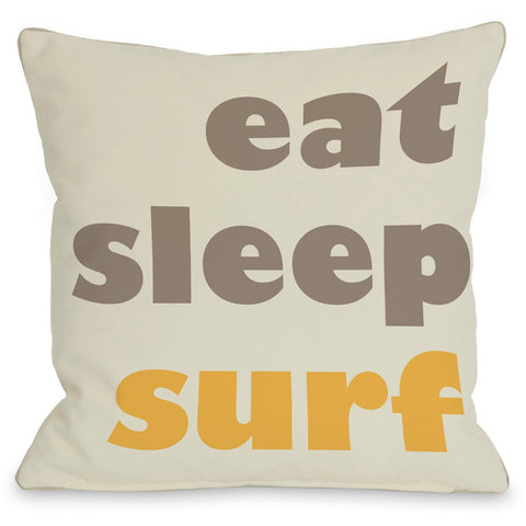 """Eat - Sleep - Surf"" Outdoor Throw Pillow by OneBellaCasa, 16""x16"""