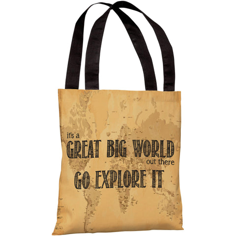 """It's A Great Big World - Go Explore It"" 18""x18"" Tote Bag by OneBellaCasa"