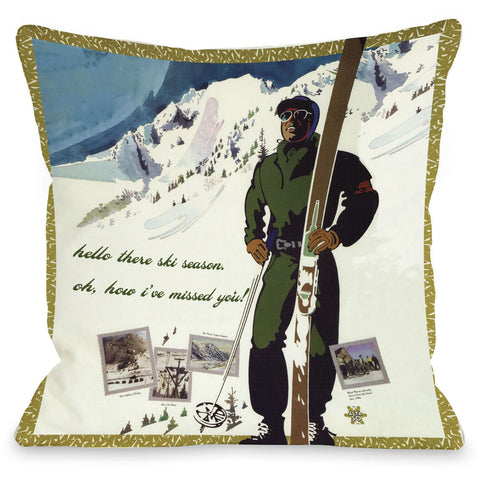"""Hello There Ski Season"" Indoor Throw Pillow by OneBellaCasa, 16""x16"""